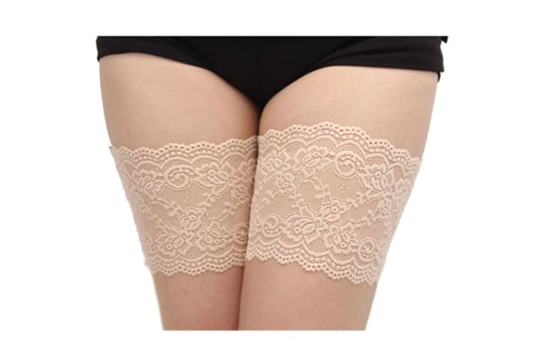 Women'S Sexy Lace Top Silicon Strap Anti-Skid Thigh Nightclub High Stockings A Skin D(50-53Cm)