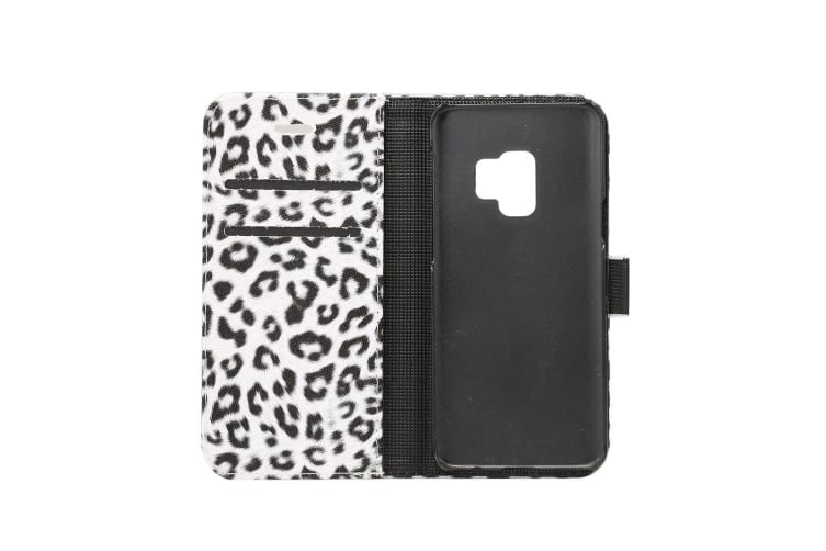 For Samsung Galaxy S9 Wallet Case Leopard Pattern Leather Protective Cover White
