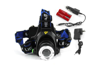Raylight Headlamp Headlight LED Torch CREE XM-L T6 Zoomable Rechargeable 2X 18650 Batteries Elinz