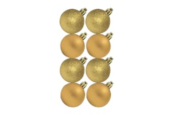 Theme Machine Glitter/Plain Christmas Tree Baubles (Pack Of 8) (Gold) (One Size)