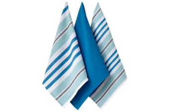 Ladelle Oasis Woven Cotton Teatowels - Teal