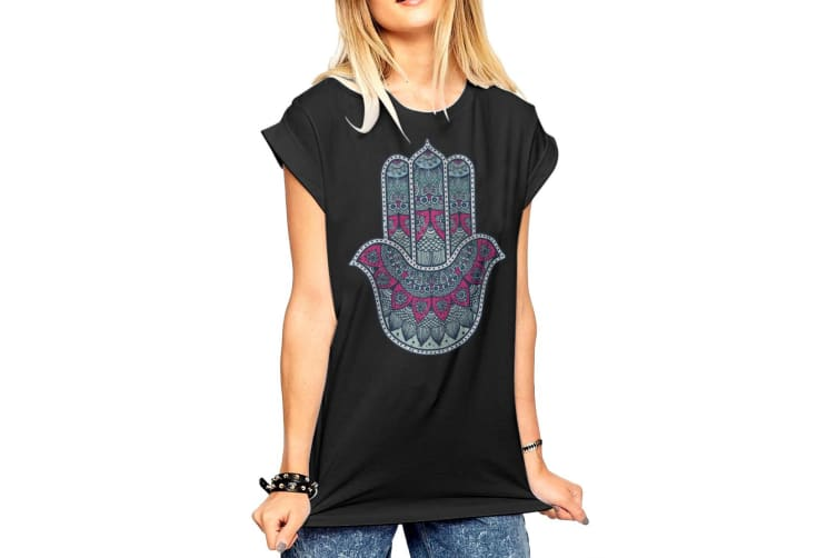 Fashionkilla Womens/Ladies Oversized Henna Hand Print T-shirt (Black) (Small)