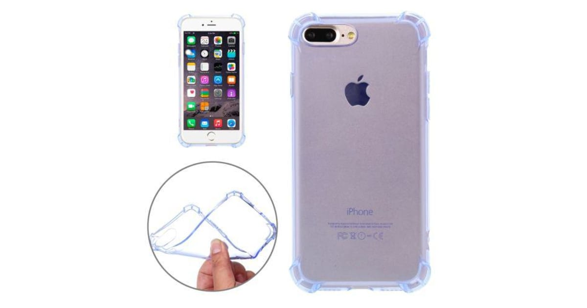 pretty nice 0a368 5ef2d For iPhone 8 PLUS 7 PLUS Case Shockproof Grippy Transparent Shielding Cover  Blue   Phone Cases
