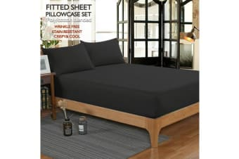 Ultra SOFT - 3 Pcs Black FITTED Sheet Set Queen Size