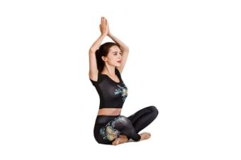 Women'S Yoga High Waist Tummy Tight Pants Short Sleeve Fitness Clothes Suit - 2 M