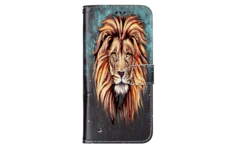 For Samsung Galaxy S9 PLUS Wallet Case Leather Lion Pattern