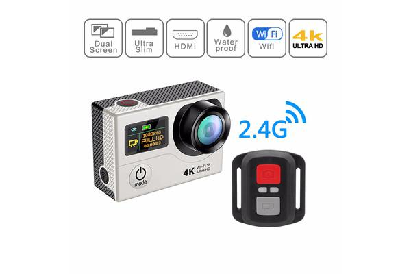 """4K Ultra Hd Wifi Sports Action Camera 2"""" Lcd Video Remote H3R Silver"""