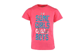 "Under Armour Girls' Heatgear ""Some Girls Chase Boys"" T-Shirt (Pink/Blue, Size XL)"