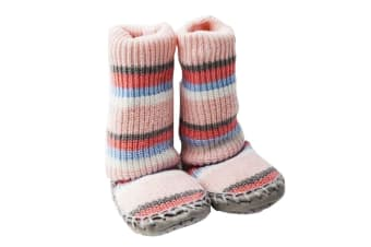 Playette Slipper Socks/Shoes/Boots 18-24M Pink Stripes Girls/Baby/Toddler/Kids