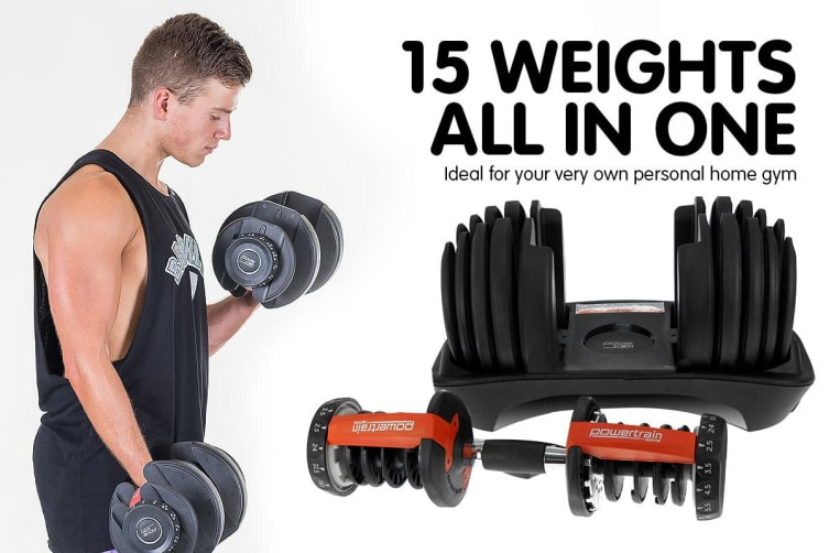 2x Powertrain 24kg Adjustable Dumbbells w/ Stand and Adidas Bench