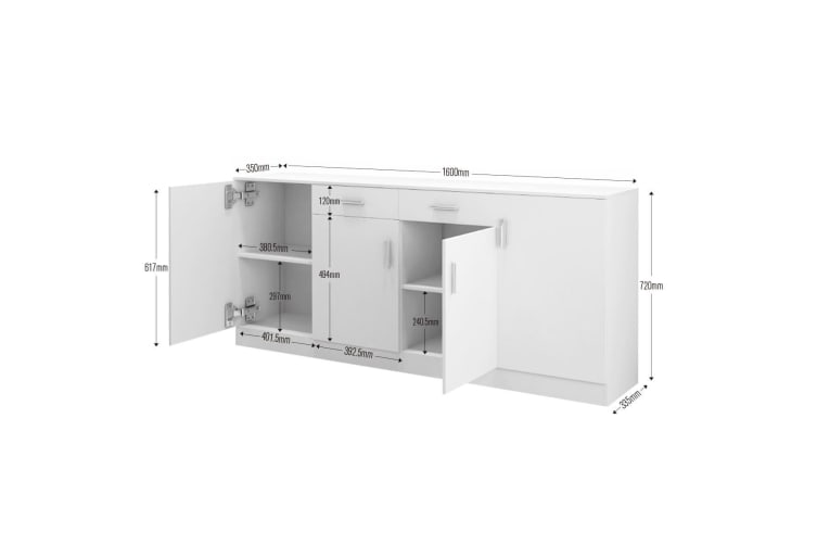 High Gloss Sideboard with 4 Doors and 2 Drawers White