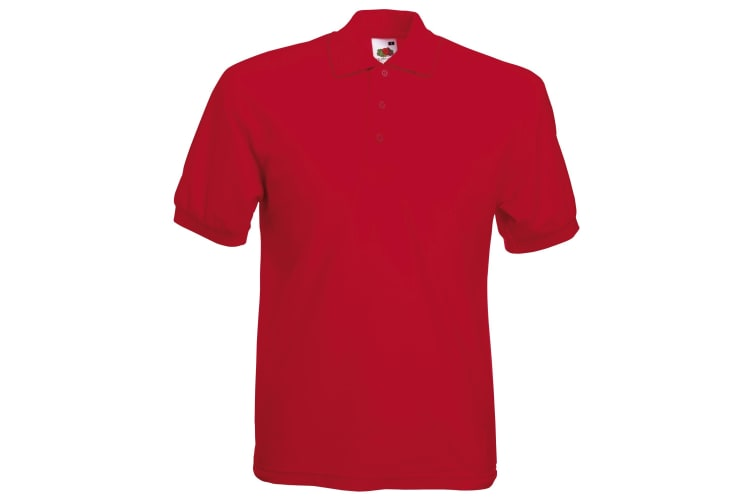 Fruit Of The Loom Mens 65/35 Pique Short Sleeve Polo Shirt (Red) (3XL)