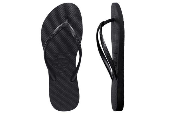 Havaianas Slim Thongs (Black, Brazil 39/40)