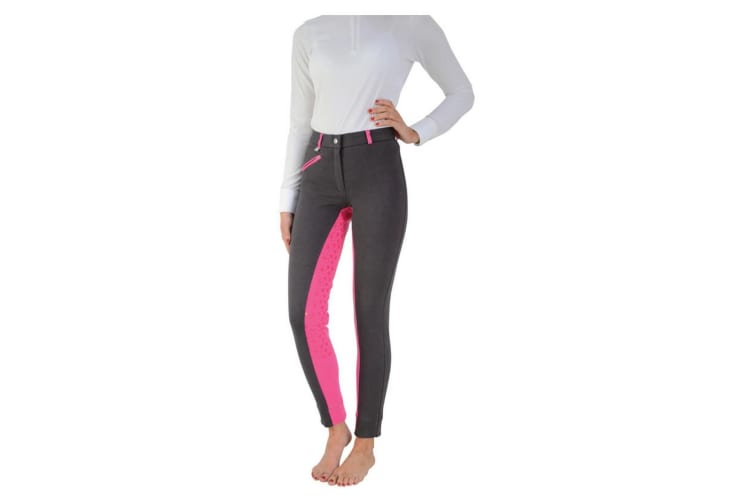 HyPERFORMANCE Womens/Ladies Saxby Silicone Jodhpurs (Anthracite Grey/Cerise Pink) (28in)