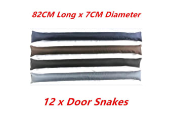 12 x Plain Color DOOR SNAKE Saw Dust n Rock Filled Draft Stopper Draught Excluder Heavy Duty