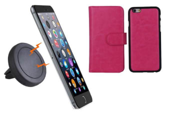 TODO Magnetic Quick Snap Car Air Vent Mount Leather Card Case Iphone 6+ Plus - Pink