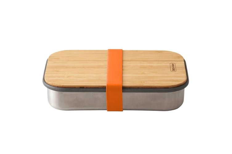 2PK Black + Blum 900ml Stainless Steel Sandwich Box Container w  Bamboo Lid OR