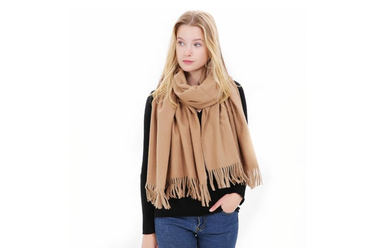 Women'S Scarf Winter Warm Long Thickened Pure Shawl - Camel Brown 175Cm
