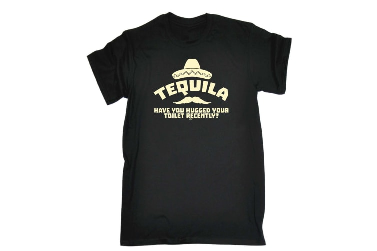 123T Funny Tee - Tequila Have You Hugged Your Toilet - (5X-Large Black Mens T Shirt)