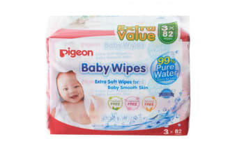 246PC Pigeon Baby/Infant/Kid Soft Pure Water Fragrance Free Absorbent Wet Wipes
