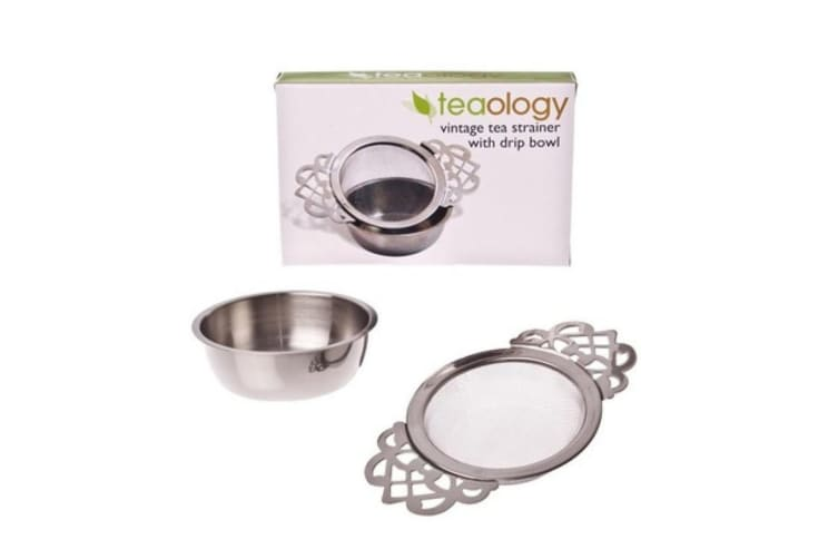 New Teaology Stainless Steel Vintage Tea Strainer With Drip Bowl