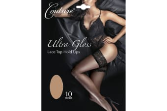 Couture Womens/Ladies Ultra Gloss Lace Top Hold Ups (1 Pair) (Nude)
