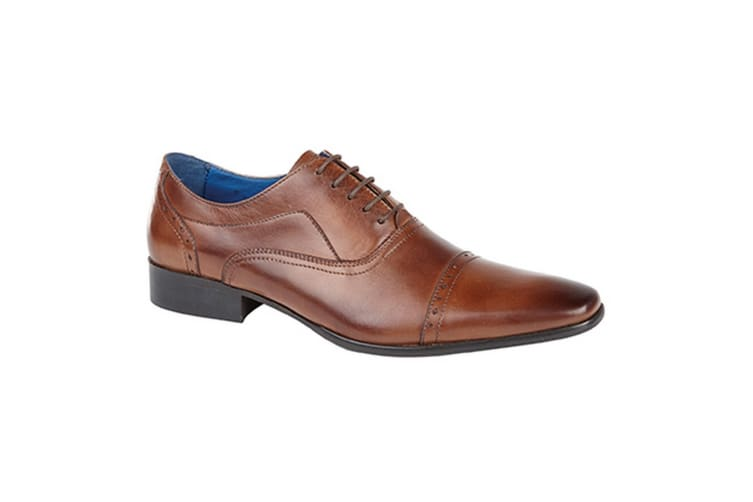Roamers Mens 5 Eyelet Punched Cap Leather Oxford Shoes (Tan) (12 UK)