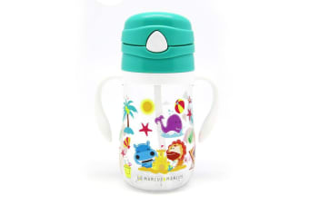 Marcus & Marcus 300ml Tristan Straw Bottle w  Button Lid Toddler 12m+ Ollie GRN