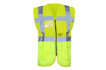 Yoko Hi-Vis Premium Executive/Manager Waistcoat / Jacket (Hi-Vis Yellow) (4XL)