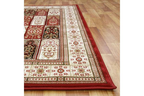 Traditional Panel Pattern Rug Burgundy 170x120cm