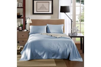 Kensington 1200 Thread Count 100% Egyptian Cotton Sheet Set Stripe Hotel Grade - Single - Chambray