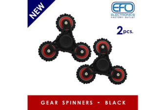 2Pc 2X 3D Hand Spinner Fidget Toy Gear Style Stress Reliever Fast Bearing Spin Black