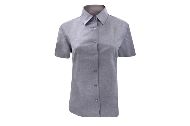 Russell Collection Ladies/Womens Short Sleeve Easy Care Oxford Shirt (Silver Grey) (XL)