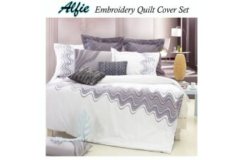 Alfie White Embroidery Quilt Cover Set QUEEN by Grand Aterlier