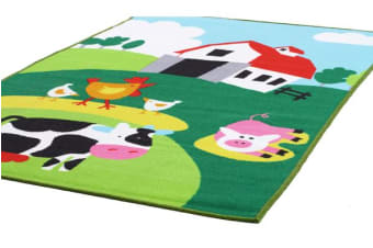 Kids Non Slip Barn Yard Farm Rug 150x100cm