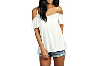 Women's Low Cut Off Shoulder Flounce Sleeve Swing Top L