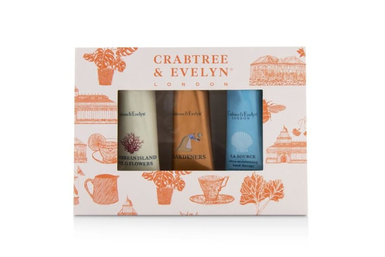 Crabtree & Evelyn Bestsellers Hand Therapy Set (1x Caribbean Island Wild Flowers  1x Gardeners  1x La Source) 3x25g/0.9oz
