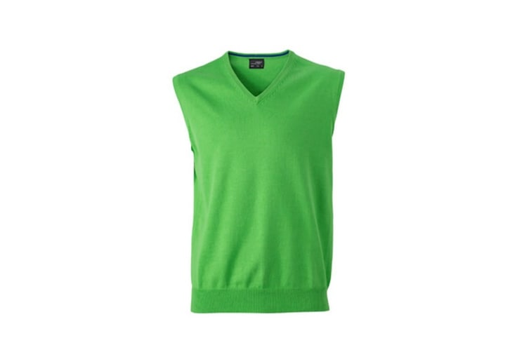 James And Nicholson Mens V-Neck Sweater Vest (Green) (M)