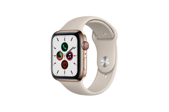 Apple Watch Series 5 (Gold Stainless Steel, 44mm, Stone Sport Band, Cellular)