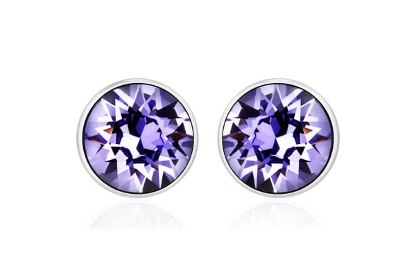 Apex Brilliance Studs w/Swarovski Crystals-White Gold/Purple Velvet