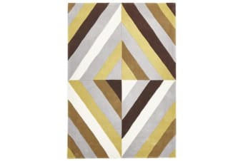 Yellow Brown Grey Crystal Prism Rug