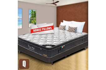 Queen Mattress Euro Top 9 Zone Pocket Spring Cool Gel Memory Foam Bamboo 33cm