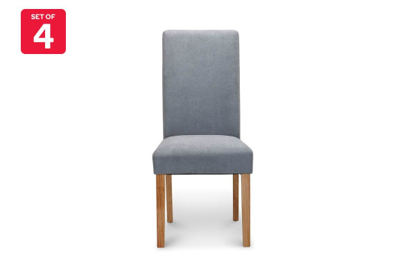 Ovela Set of 4 Kyran Fabric Dining Chairs (Ash Grey)