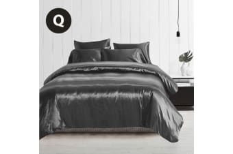 Queen Size Silky Feel Quilt Cover Set-Grey