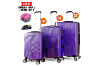 3pc Luggage Suitcase Trolley Set TSA Travel Carry On Bag Hard Case Lightweight E