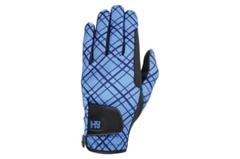 Hy5 Unisex Lightweight Printed Riding Gloves (Black/Blue)
