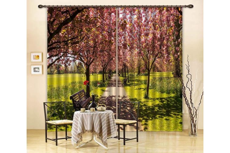 3D Flowers Trees Benches 364 Curtains Drapes, 203cmx213cm(WxH) 80''x 83''