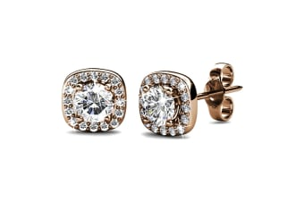 Lux Studs w/Swarovski Crystals-Rose Gold/Clear