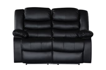 Bonded Leather Dream 2 Seater Recliner Couch (Black)