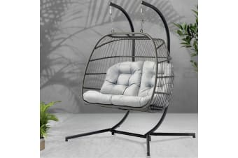 Outdoor Furniture Hanging Swing Chair Egg Hammock Wicker 2 Person